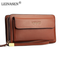 LEINASEN Brand Men Wallets With Coin Pocket Zipper Double Zipper Male Wallet Long Large Men Purse