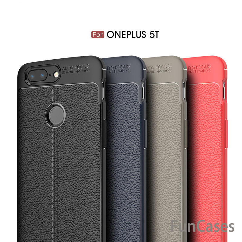For Oneplus 5T Case Leather Litchi Grained Anti-fingerprint Luxury TPU Shockproof One Pl ...