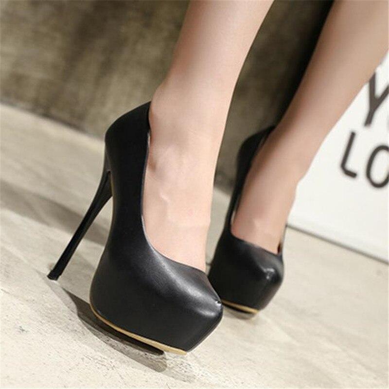 41c30c38c Большой размер 41 42, 43 44 45, 46, 47 Для женщин Демисезонный пикантные  Офисные женские туфли в деловом стиле круглый носок платформа супер обувь  на тонком ...