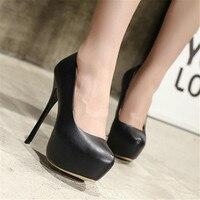 Artı Boyutu 41 42 43 44 45 46 47 Kadın Bahar Sonbahar seksi Ofis Lady Kariyer Yuvarlak Ayak Platformu Süper İnce Yüksek Topuklar Ayakkabı pompalar