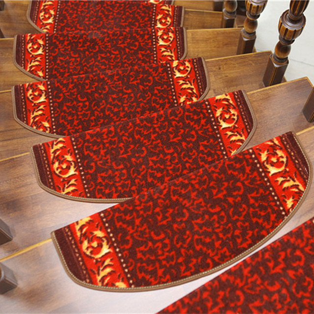 Charmant Red Stair Carpet Mats Staircase Stepping Pad Rugs For Stairs With Magic  Buckle On Back Non