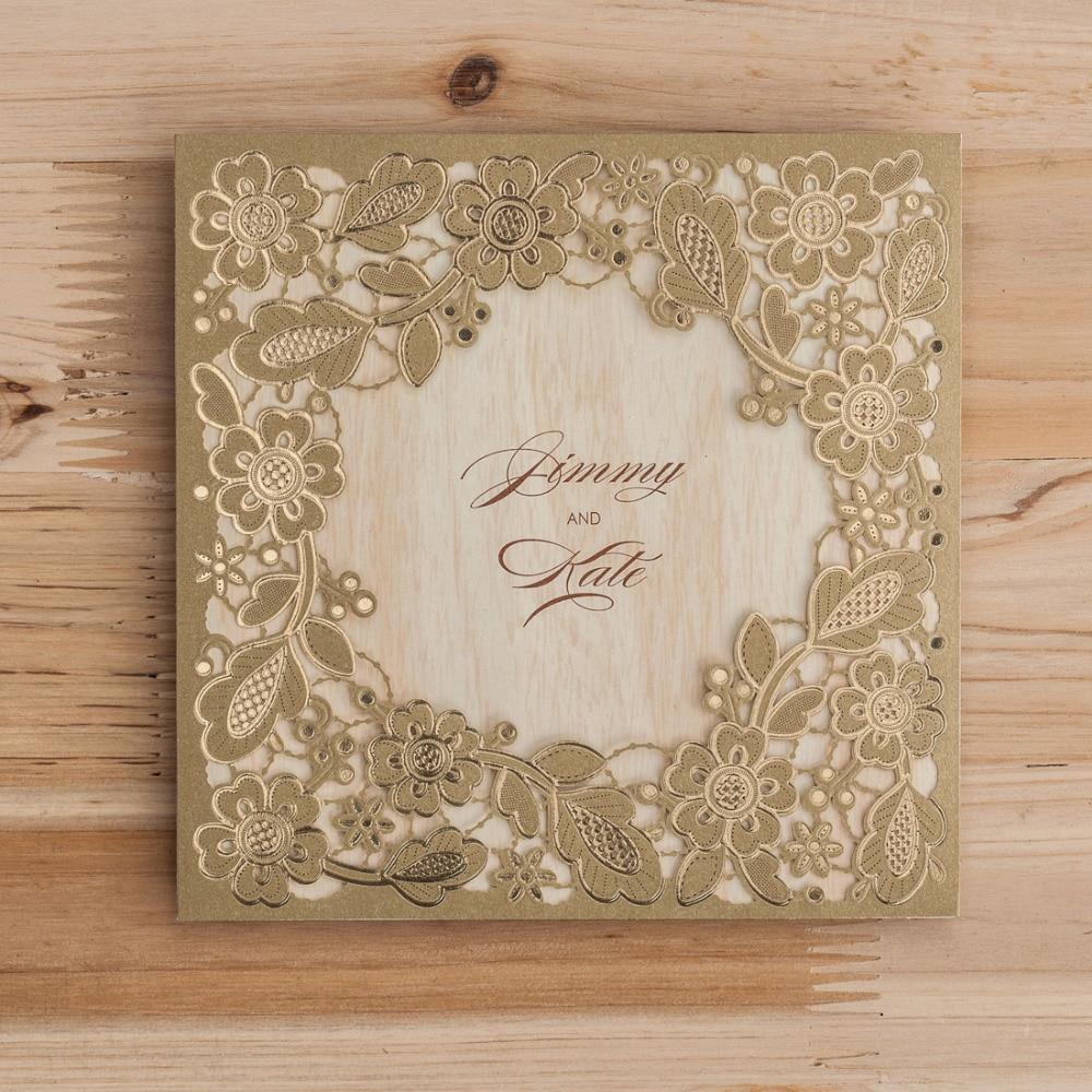 Brides Wedding Invitation Kit: Gold Square Laser Cut Wedding Invitation Cards Kits With