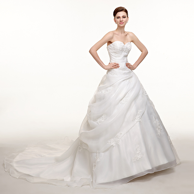 Plus Size Wedding Dresses Ball Gown Sweetheart Organza Lace Beaded Cheap Boho Wedding Gown Bridal Dresses