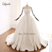 Liyuke Beautiful Lace A-Line Wedding Dresses With Off The Shoulder Sleeve Button Closure Gown