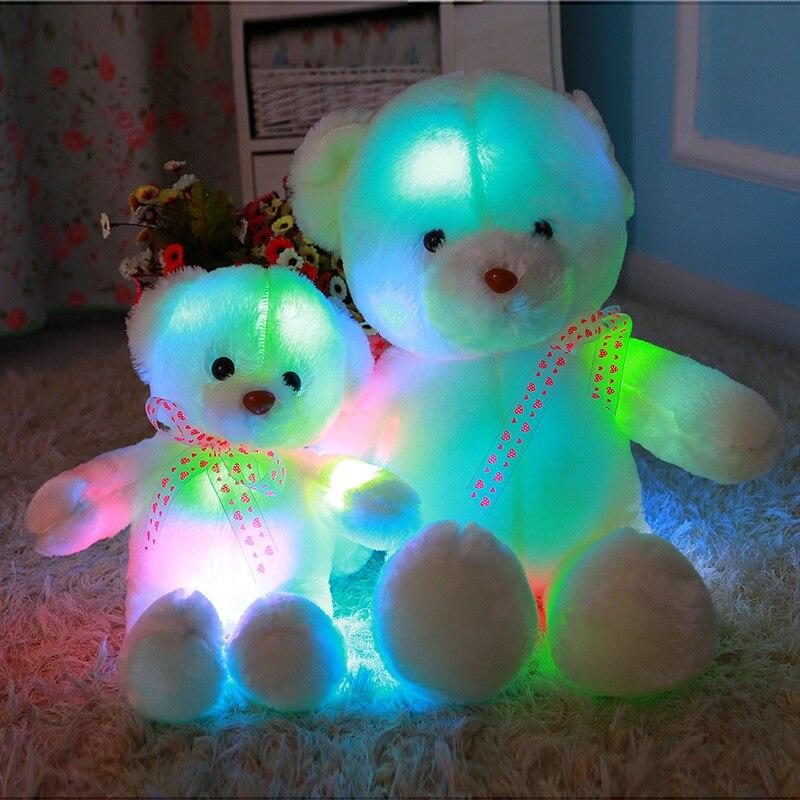 35 cm Glowing Blinkende Plüsch Spielzeug Teddy Bears LED Licht Leuchtende Bunte Gefüllte Plüsch Kreative Geschenke Spielzeug Für Kinder Kinder