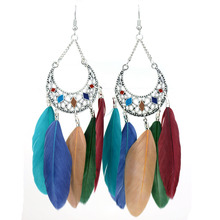MYTHIC AGE 11.5cm Bohemia Bohe Antique Silver Color Enamel Long Colorful Feather Earrings For Women Jewelry Bijouterie