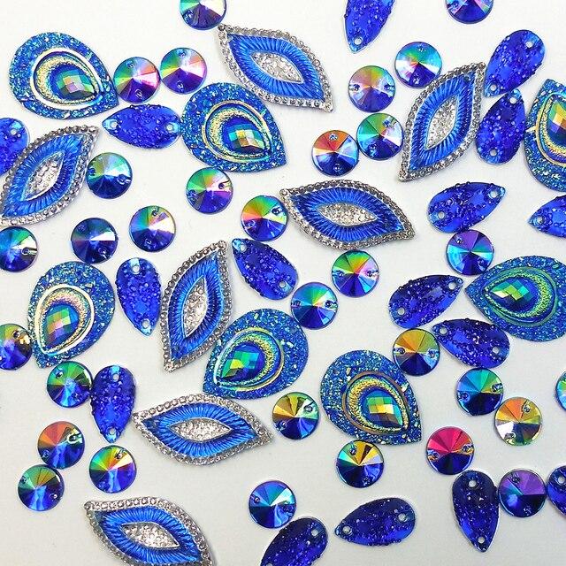 Fine Mix Mixed Shape Royal Blue Sew On Diy Acrylic Rhinestones