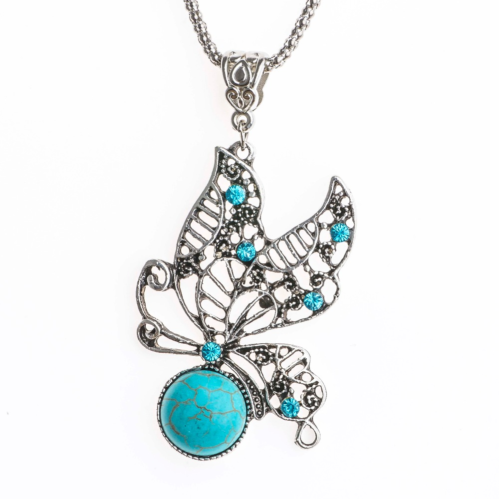 Shuangr Blue Crystal Natural Stone Erfly Wing Pendant Silver Color Rope Chain Bohemian Necklace Women Vintage Jewelry Femme