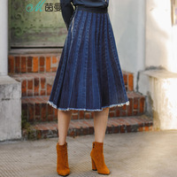 INMAN New Skirt Pleated Denim Skirt A Line Knee Length Casual Style Draped Skirt