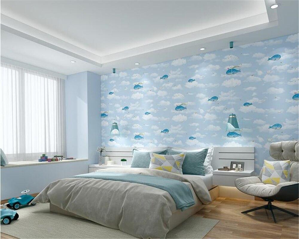 Beibehang New 5d Children S Room Pressing Wall Paper Bedroom Study Boys Pink Blue Dolphin Papel De Parede Wallpaper