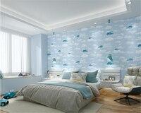 beibehang New 5D Children's Room Pressing Wall paper Bedroom Study Boys Girls Pink Blue Dolphin papel de parede 3d Wallpaper
