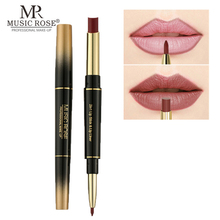 MUSIC ROSE 24 Color Double-end Lip Makeup Lipstick Pencil Waterproof Long Lasting Sexy Red Stick Beauty Matte Liner