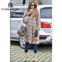 FURSARCAR Women Real Mink Fur Coat 2019 Winter New Arrival Luxury Female Jacket With Collar Top Quality Outwear