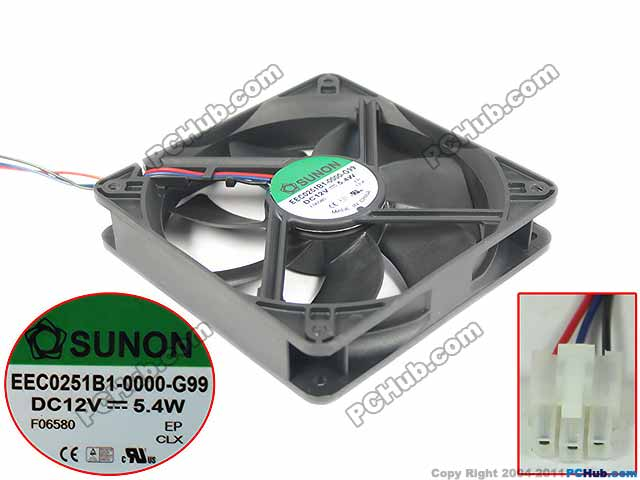 SUNON EEC0251B1-0000-G99 Server Square Fan DC 12V 5.4W 120x120x25mm 3-wire emacro for nonoise a8025h24b server square fan dc 24v 0 095a 80x80x25mm 2 wire