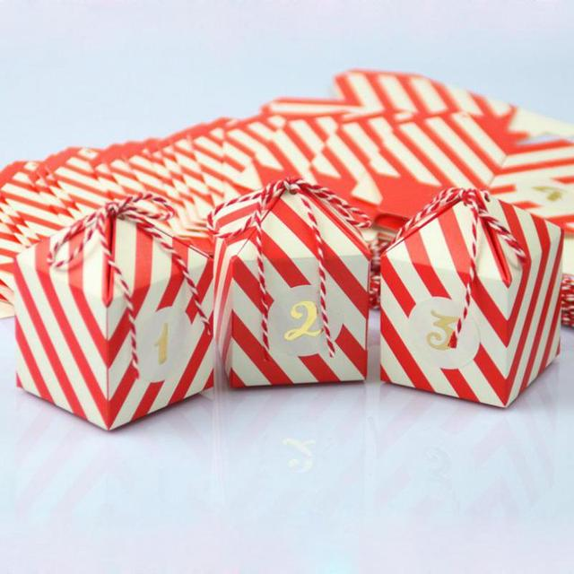 Us 10 99 30 Off 24pcs Red Stripe Candy Box Wedding Favors Supplies Baby Shown Birthday Party Event Gift Packing Boxes Bag Boite Cadeau Rouge In Gift