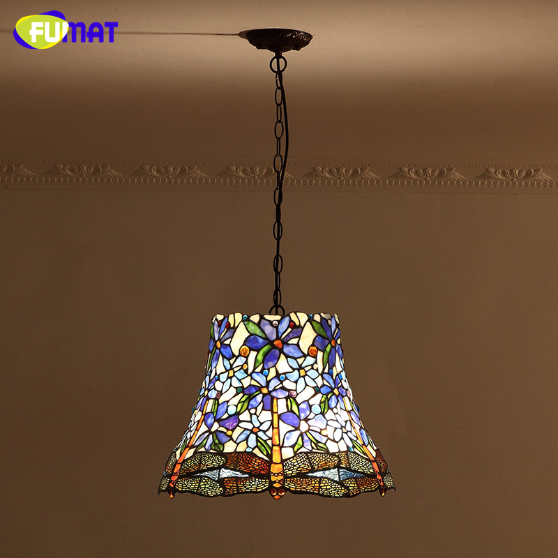 FUMAT Tiffany European Style Stained Glass Vintage Creative Art Pendant Light Dragonfly Shade Light for Living Room Dining Room fumat parrots shape chandelier european vintage glass shade light dining room hanging lamp pendientes lustre light fixtures