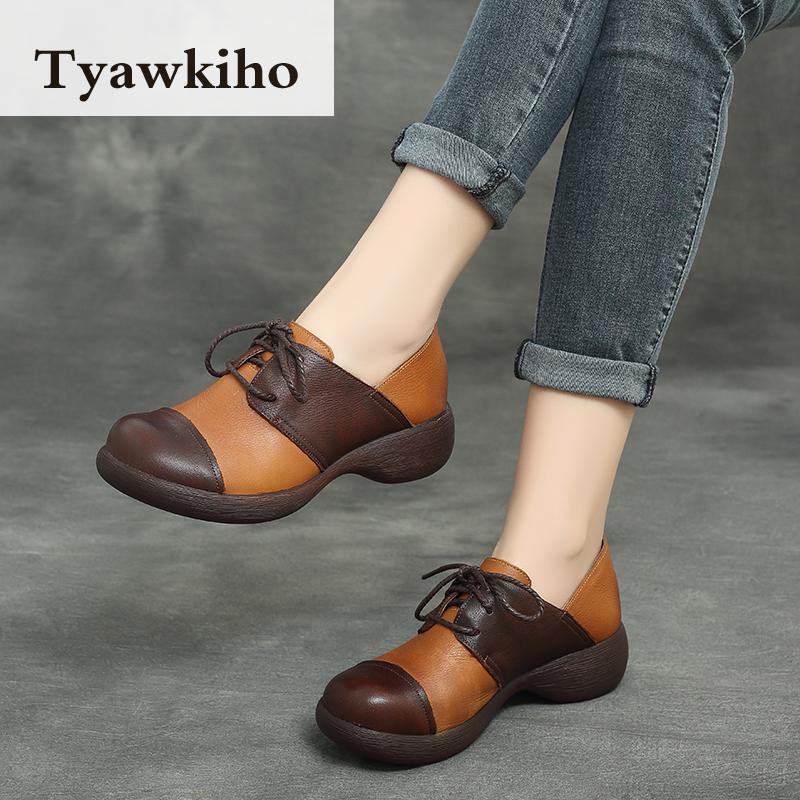 Ayakk.'ten Kadın Pompaları'de Tyawkiho Hakiki Deri Kadın Pompaları Lace Up Casual Kadın Ayakkabı 5 CM Yüksek Topuklu 2018 Bahar Ayakkabı El Yapımı Yumuşak Deri pompaları'da  Grup 3