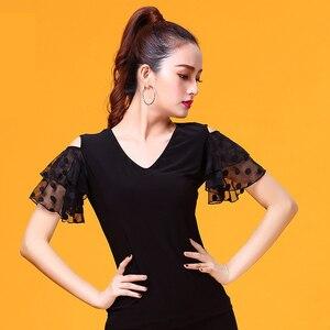 Image 3 - שחור V צוואר קצר שרוול מודרני לטיני בגדי ריקוד למעלה לנשים/נקבה רקדנים, ווג סלוניים תלבושות ביצועים ללבוש YR0303
