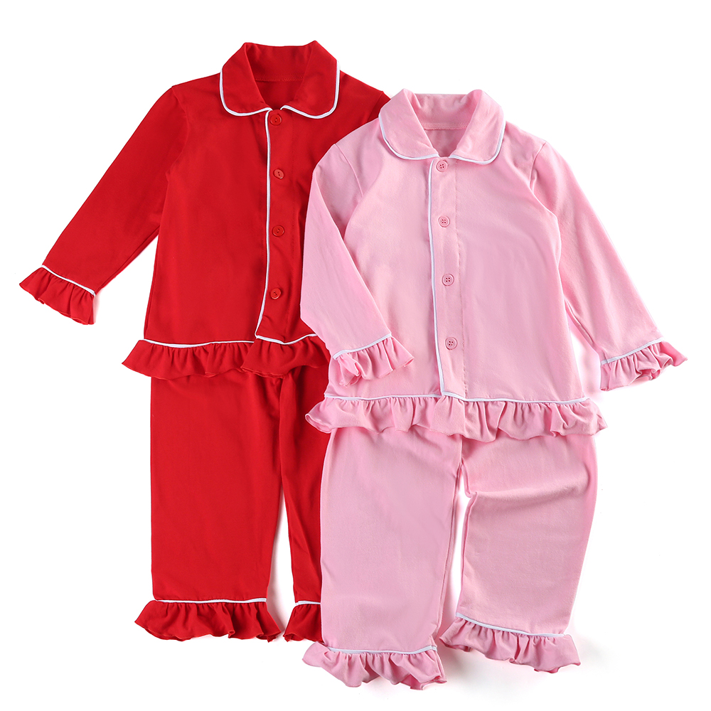 100% Cotton Navy Solid Color Boys Girls Sleepwear Button Family Siblings Matching Children Christmas Ruffle Kids Pajamas