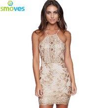 Smoves Gold Metallic Embroidery Dress Halter Back  Cross Bodycon Dress Party Dresses Vestidos GD379