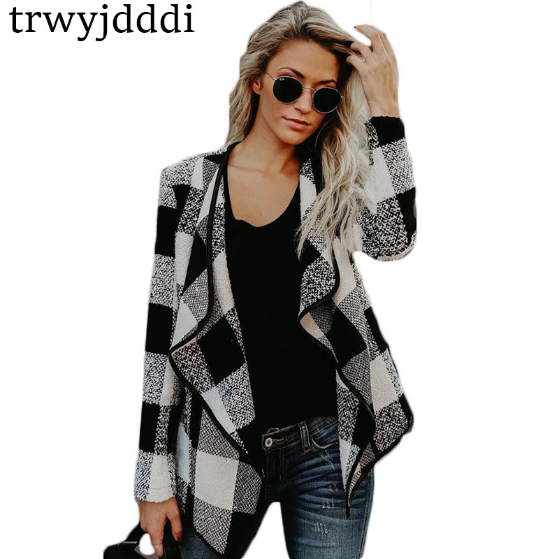 AliExpress 2018 New Foreign Trade Explosion Models Slim Womens Clothing Plaid Tops Women Big Size Cardigan Thin Jacket hl068