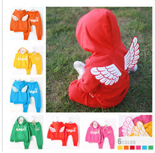 Free shipping    New Arrival Children Set Baby Girls Boys Spring Autumn 2 pcs Set Angel Wing Hoodies Sweater Coat+Pants suit