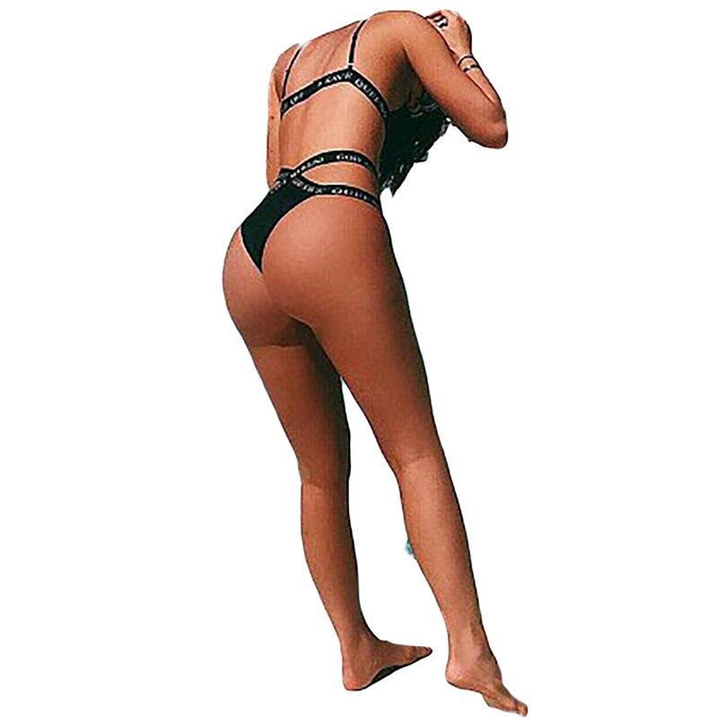 HTB1L 3mSXXXXXbKaFXXq6xXFXXXM - Kylie Jenner Black God Save Queens Swimsuit Letters Bandage Cross Triangle Bikinis Set Swimwear PTC 243