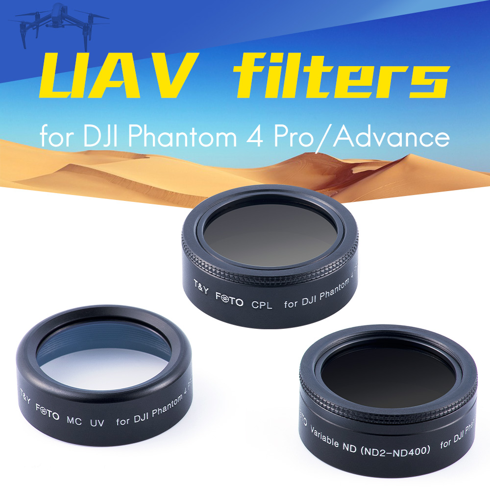 wtianya t&y foto for dji Phantom 4pro filters set with MCUV c-polarizer CPL filter and variable Neutral Density ND2-ND400 filter