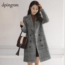 Весна осень Женское шерстяное пальто новое модное длинное шерстяное пальто двубортное тонкое женское осенне-зимнее шерстяное пальто