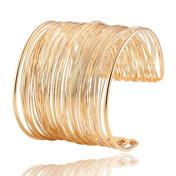 gold color Retro Punk Cuff Bracelet Bangles For Women Exaggerated Personality Female Jewelry