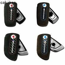 Chave Do Caso Carteira de Couro de Fibra De carbono Para BMW G30 520D F10 F11 F20 F21 F30 X1 X3 X4 F48 F07 f80 M3 5 Série Estilo Do Carro Para BMW