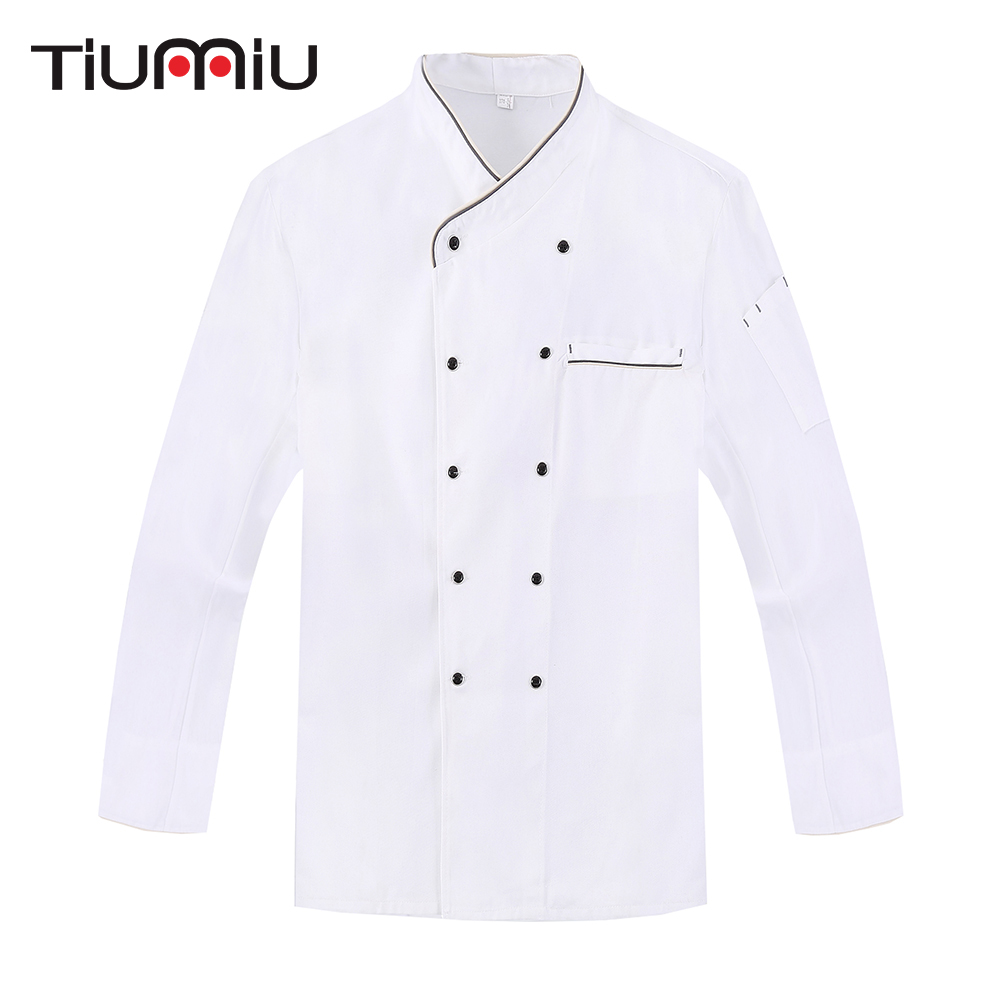 White Double Breasted Long Sleeve Chef Jacket Hotel Cafe Waiter Workwear Uniform Bakery Kitchen Cook Wear Tops Clothing Overalls