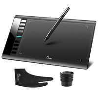 "Parblo A610 arte Digital gráficos dibujo pintura tablero con pluma recargable tableta 10x6 ""5080LPI con guante"