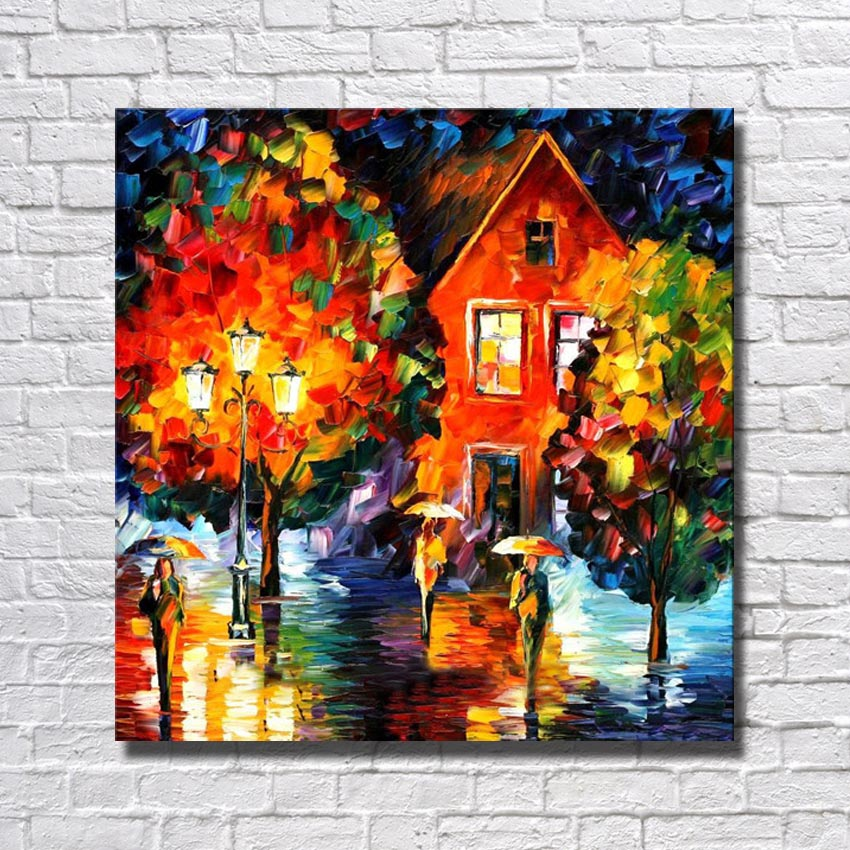 Xiamen living room wall pictures modern village canvas for Art painting for home decoration