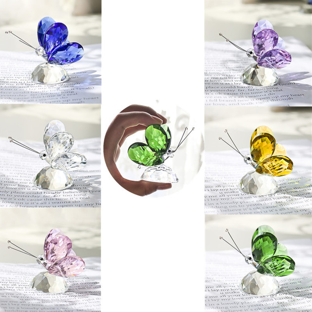 H&D 6pcs Crystal Butterfly Crafts Glass Animal Paperweight Natural Stones Figurines Ornaments Home Decor Souvenir Wedding Gifts