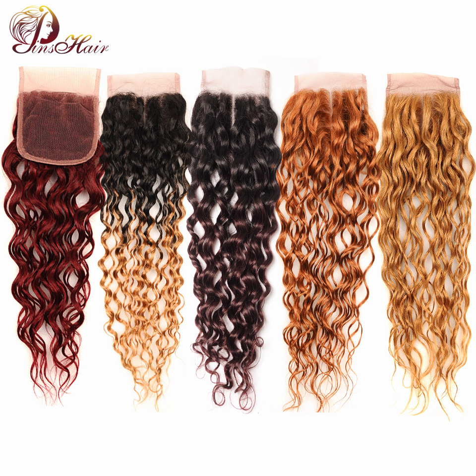Pinshair Ombre Honey Blonde Brazilian Water Wave Closure 100 Human Hair 4X4 Swiss Lace Middle Part Closure Red Burgundy Nonremy