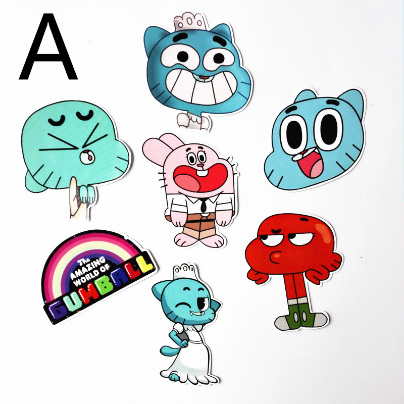 TD ZW 2018 2 Style 7Pcs The Amazing World of Gumball Stickers Decal For Snowboard Laptop Luggage Car Fridge Pegatina