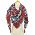 Za Winter Triangle Women Plaid Cashmere Scarf Wrap Luxury Brand Blanket Tartan Stole Warm Pashmina Shawls and Scarves Long Shawl