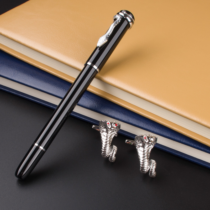 High Quality Office School Supplies Metal roller ball pen luxury school Office luxury silvery dragon Cufflinks Gifts box dikawen 891 gray gold dragon clip 0 7mm nib office stationery metal roller ball pen pencil box cufflinks for mens luxury