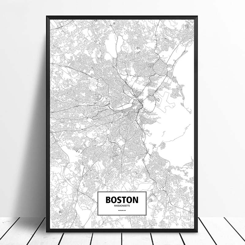 US $9.58 20% OFF|BOSTON, MASSACHUSETTS, UNITED STATES Black White Custom  World City Map Posters Canvas Prints Nordic Style Wall Art Home Decor-in ...