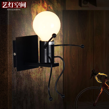 ФОТО 2/pcs American Creative Wall Lamp Contracted Wrought Iron Wall Lights Personality Little People Wall Lamps Art Deco Lighting
