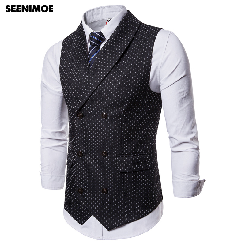 Seenimoe Mens Formal Blazer Vests Casual Double Breasted V-neck Fashion M-4XL Male England Style Printed Casual Blazer Vests
