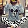 Invierno pijama de terciopelo de coral gruesa de la historieta encantadora Mickey trajes de servicio a domicilio pijamas de las señoras de manga larga de franela pijamas de invierno
