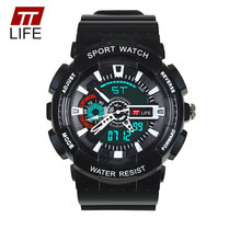 TTLIFE Men Sport LED Business Digital Watch Life Waterproof Shockproof LED Display Watch Male Electronic Quartz Wristwatch TS12