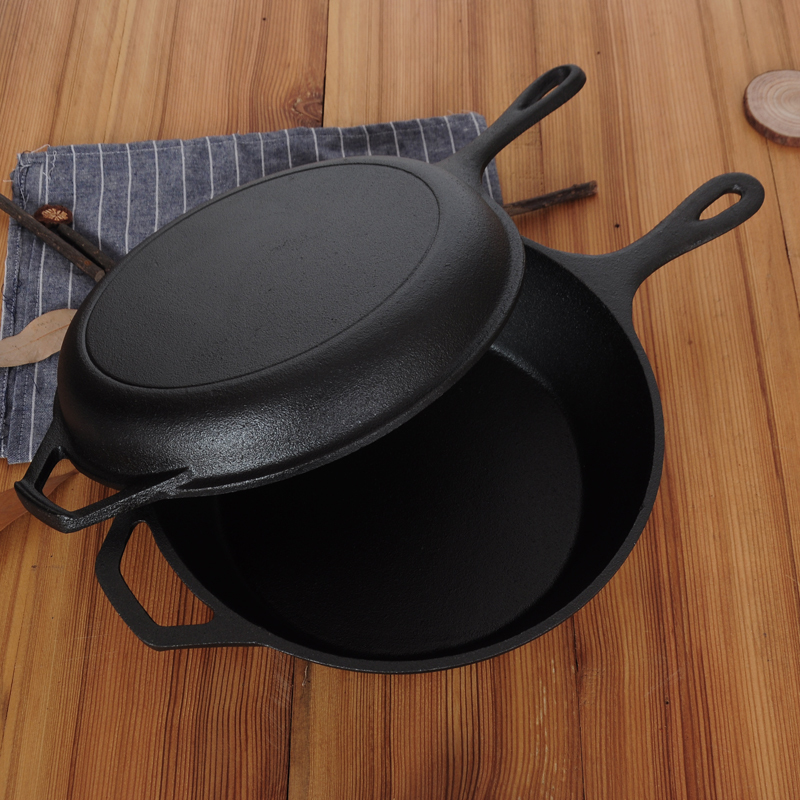 Heavy Raw Cast Iron Dual-Purpose Thickened Non-Stick Frying Pan 3