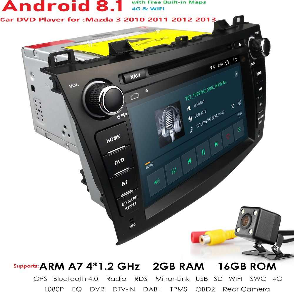 "Android 8.1 Auto Radio 2 Din Car Stereo DVD GPS Navi For Mazda 3 Mazda3 2010 2011 2012 2013 8"" HD Headunit GPS Navigation System"