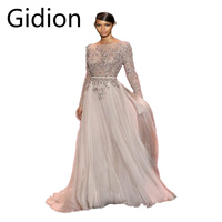 2014 Attractive Long Sleeve Applique Flower Chiffon A Line Scoop Neckline Pleated Sashes Backless Sexy Formal