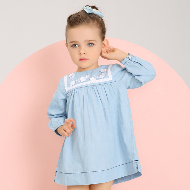 Girls Dresses Jeans Blue Dress For Little Girl Spring Autumn Clothes 2017 New Girls Clothing Kids Children Clothes W8088
