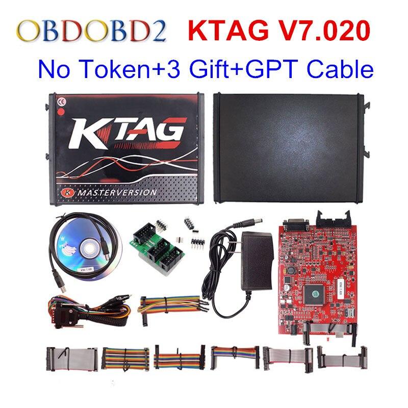 100% No Token 7.020 KTAG K tag V7.020 V2.23 Online Maestro KTAG V7.020 K-TAG ECU strumento Chip Tuning Per Il Camion Auto ECM Winols Libera La Nave