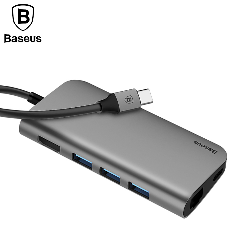 Baseus 8in1 USB Type C 3.1 HUB for Type C to 3 USB 3.0 / 4K HDMI / RJ45 Ethernet / Micro SD TF Card Reader / USB Type C OTG HUB multi in 1 micro usb otg 2 0 hub sd hc tf card reader mobile phone stand champagne